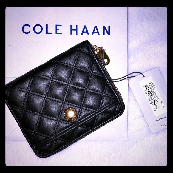 f32c9ba8d29 Cole Haan Bags | Black Benson Quilted Zip Around Wallet | Poshmark